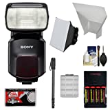 Sony Alpha HVL-F60M Flash with Video Light with Batteries & Charger + Diffuser + Bounce Reflector + Monopod + Accessory Kit
