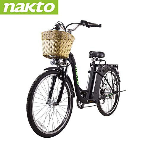 NAKTO 26″ Electric Bikes for Adults 250W Electric Bicycle City Ebike for Men Women 6 Speed Electric Bike with 36V 10AH Removable Lithium Battery-1-Year Warranty
