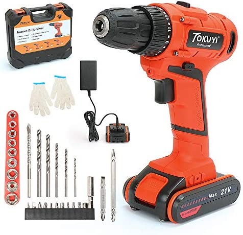 PowerGiant 21V Max Lithium-Ion Cordless Drill Driver Kit – 3 8-inch Chuck with LED light, 2-Speed Torque 17 1 Position, 1 Hour Fast Charger, 29pcs Accessories, Battery Included
