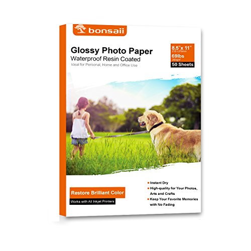 Bonsaii Glossy Photo Paper,8.5x11 Inches,50 Sheets
