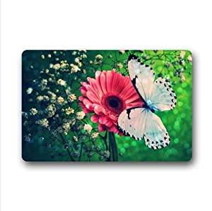 Beautiful White Butterfly And Red Flower Custom Non-Woven Fabric Top,Indoors/Outdoors Doormat 23.6 x 15.7