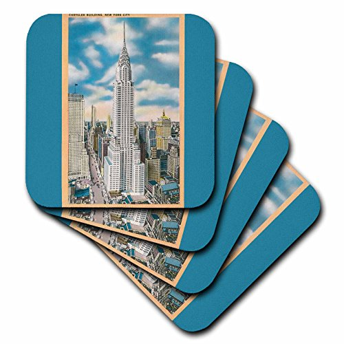 3dRose Chrysler Building, New York City Aerial View - Soft Coasters, Set of 4 (CST_170848_1)