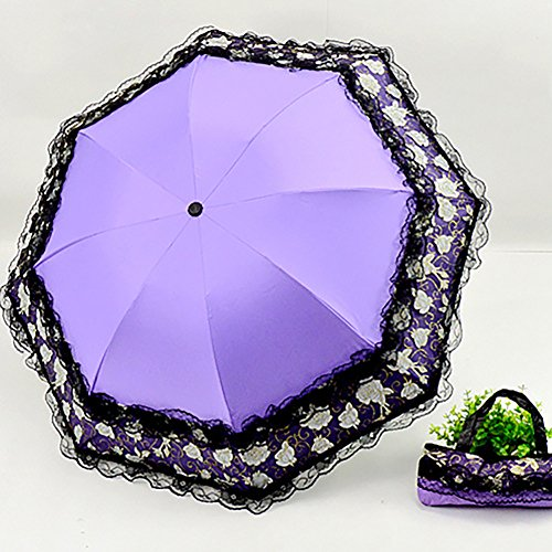 EDTara Black Glue Anti-Uv Sunproof Triple Folding Umbrella Double Lace Trim All-weather Umbrella (Violet Trim)