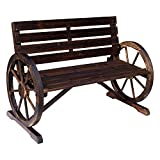 Wooden Outdoor Furniture Outsunny Rustic Wooden Outdoor Patio Wagon Wheel Bench Seat