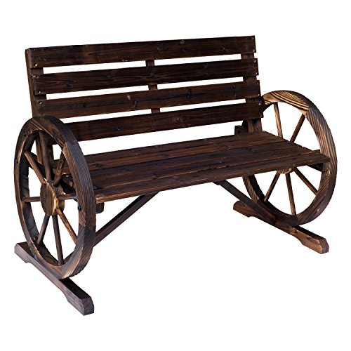 Outsunny Wooden Wagon Wheel Bench Rustic Outdoor Park (Garden Old Furniture Rustic)