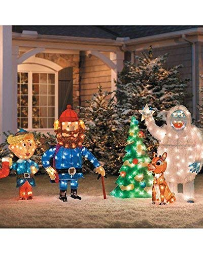 Rudolph Christmas Decorations.Amazon Com 5 Pc Pre Lit Rudolph Reindeer Bumble Tree Hermey