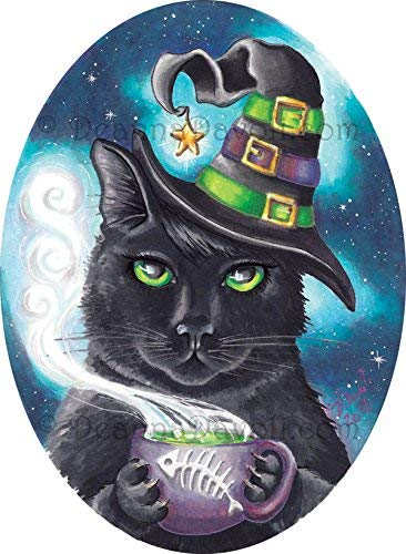 Witch Cat Art Print Black Cat Halloween Art Fishbone Cauldron Kitty Cat Print 8.5x11, 11x14 ()