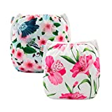 ALVABABY Swim Diapers 2pcs Reuseable & Adjustable for Baby Swimming Lessons (Flowers, one Size (0-2 Years Old))