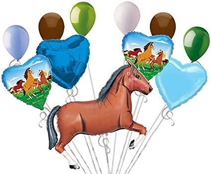 11 pc Brown Wild Horse Balloon Bouquet Decor Happy Birthday Playing Pony Girl