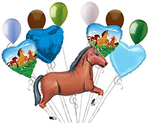 11 pc Brown Wild Horse Balloon Bouquet Decor Happy Birthday Playing Pony Girl ()