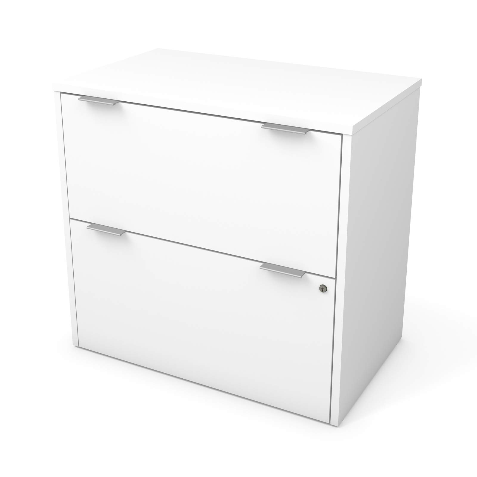Lateral Filing Cabinet - Modern Style File Cabinet - Home Office Organizer with 2 File Drawers (White)