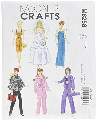 Doll Sewing Barbie Patterns - McCall's Patterns M6258 Fashion Clothes for 11-Inch Doll, One Size Only