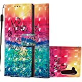 Wallet Case with Black Dual-use Pen,Aoucase Luxury Wrist String 3D Effect Sunrise Painting Card Holder Shock Resistant Soft TPU PU Leather Case for Galaxy Note 10/Note 10 5G