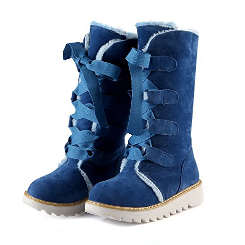 Frosted Round Solid Toe Lace Women's Closed WeiPoot Low Boots Heels Blue up 0I1aq