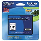 Brother 1/4'' Laminated Black on Clear Tape (1/Pkg) (26.2 Ft.) For use in TZ P-Touch: All TZ Machines 1/4'' Tape Lamin Bk on Clear, Part Number TZE111