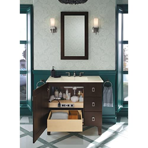 free shipping KOHLER K-99678-SH9-1WR Adjustable Shelf with Electrical Outlets for KOHLER K-36-Inch Tailored Vanities with 1 Door 3 Drawers, Natural Maple