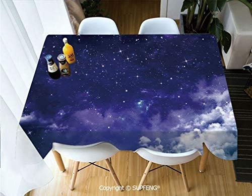 Vinyl tablecloth Dreamy Night with Stars Clouds Comets Ethereal Evening Surreal Calm Scene Picture (60 X 104 inch) Great for Buffet Table, Parties, Holiday Dinner, Wedding & More.Desktop decoration.P]()