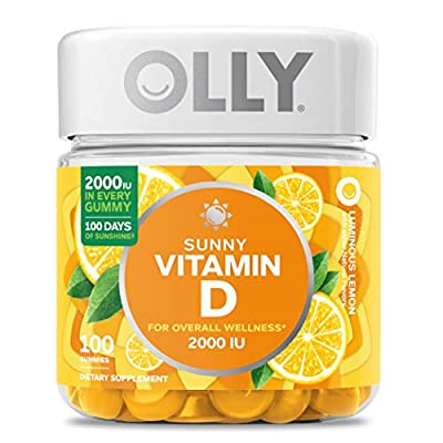 OLLY Hello Sunshine Gummy Supplement, with 2000 IU of Vitamin D3; Luminous Lemon; 100 count