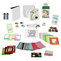 Fujifilm Instax Mini 8 Instant Camera + 20 Instant Film Shots, + Instax Mini Case + 14 PC Instax Accessories Bundle, Fuji Instax Mini 8 Kit Gift Box, Albums, Lenses, Magnet Frames, Stickers