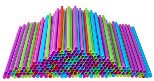Price comparison product image Large Drinking Straws, 500 Count Multi-Colored Disposable Straws, Assorted - DuraHome (500 Pack)