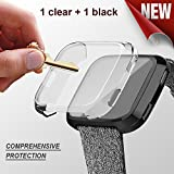 Fitbit versa case,Doudou fitbit versa screen protector TPU All-around Full Front Protective Case 0.3mm HD Clear Cover for Fitbit versa Smart Fitness Watch (clear+black)