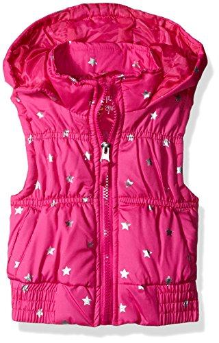 Pink Platinum Little Girls' Foil Star Puffer Vest, Bright Pink, 5/6