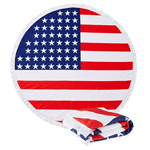 "Great Bay Home Round USA Flag Beach Towels. 60"" Round. 100% Zero Twist Cotton. Multi-Purpose, Durable, Absorbent Towels for Bathroom, Pool, or Beach (USA)"
