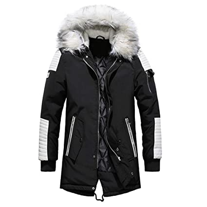 00fc1fe0990 Daoroka Men Winter Warm Long Jacket Thick Fur Hoodies Coat Long Sleeve  Pockets Fashion Casual Cool Outwear Tops   Sports   Outdoors