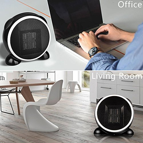 Ninonly Portable Space Heater Mini for Home Office 500 Watt Black Fashion  Cartoon Fan Desktop Heater with PTC Ceramic Low - Power Warmer Black