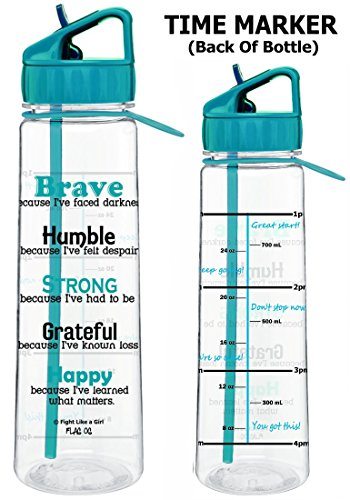 Fight Like a Girl Motivational Brave Because I've Faced Darkness Slimkim II Water Sports Bottle | Time Marker with Inspirational Phrases 30 Oz (Teal)