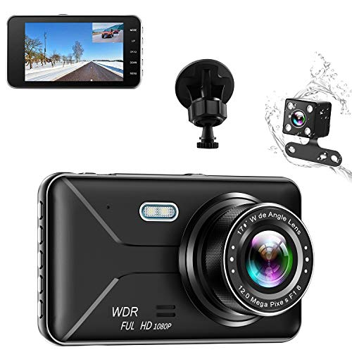 Dash Cam, 1080p Dash Camera for Cars DVR Dashboard Camera Full HD and Rear Cameras 4.0″ IPS Screen 170°Wide Angle,Parking Monitor,G-Sensor,Night Vision