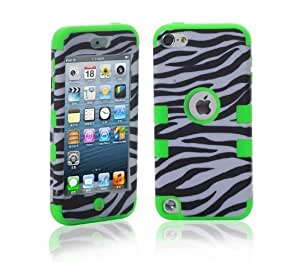 Topforcity PC + TPU Zebre Combo Hard Soft High Impact Armor Case Skin Gel for Apple iPod Touch 5 with free Screen Protector(green)