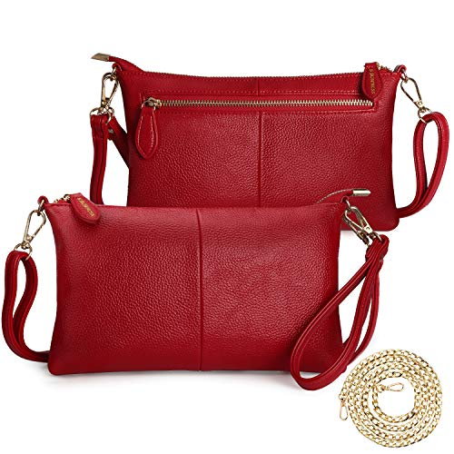 (S SUNINESS Women RFID Crossbody Bags - Ladies Sling Purse Lightweight Leather Wallet Wristlet Bags (Red with Pebble Pattern))