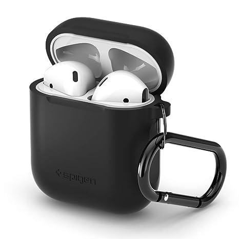 Custodia AirPods, Spigen [Nero] Protezione antigraffio e antipolvere in silicone morbido Premium, custodia antiurto progettata per Apple AirPods