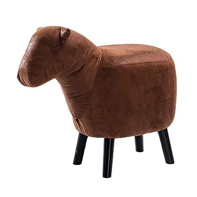 WENYAO Reposapiés para niños Taburete para Animales Taburete con Pony de Madera Estructura de Madera Maciza + Esponja elástica Alta + PU / 68.5 * 34 * 41CM A: Hogar
