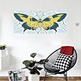 Liguo88 Custom canvas Butterflies Decoration Collection Butterfly In Stained-Glass Window With Frame Wing Spring Garden Illustration Bedroom Living Room Wall Hanging