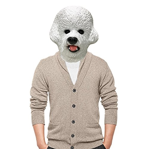 Bichon Frise Halloween Costumes (Off the Wall Toys Bichon Frise Dog Halloween Costume Face Mask Kennel Club)
