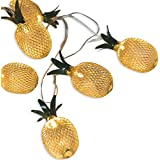AceList 20-LED Pineapple Strings Light Golden Metal Mesh Shape Fairy for Indoor Bedroom Garden