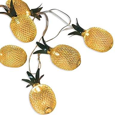 20-LED Golden Metal Mesh Pineapple LED Lantern String Lights Battery Powered Novelty Fairy Lights for Bedroom Wedding Patio Party Xmas Festival Decoration
