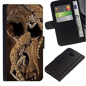 All Phone Most Case / Oferta Especial Cáscara Funda de cuero Monedero Cubierta de proteccion Caso / Wallet Case for HTC One M8 // Skull Deep Animal Nature Brown