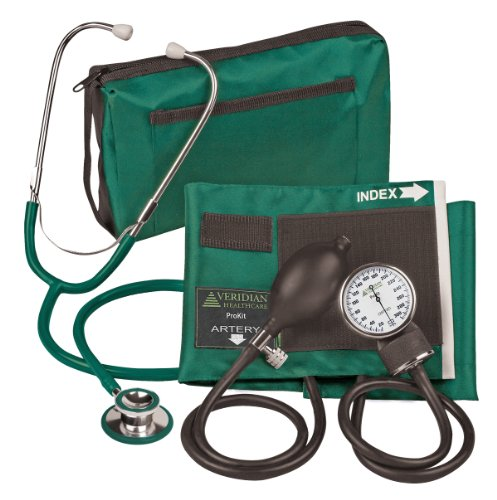 Veridian 02-12706 Aneroid Sphygmomanometer with Dual-head Stethoscope Kit, Adult, Hunter Green - Veridian Green