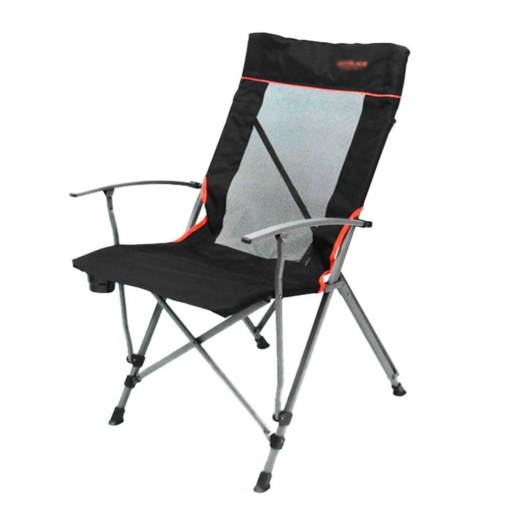 折りたたみ椅子キャンプチェア釣りチェアホームガーデンチェアチェア屋外ビーチチェアハイバックアームチェアベアリング重量150kg (Color : Black, Size : 56*68*96cm) 56*68*96cm Black B07QGNW4PL