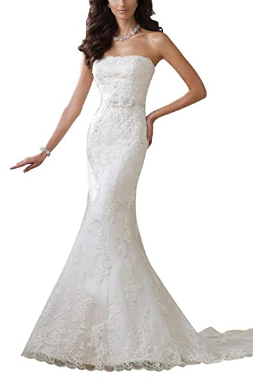 GEORGE BRIDE Slim Bra handmade lace tail wedding dress: Amazon.co.uk ...