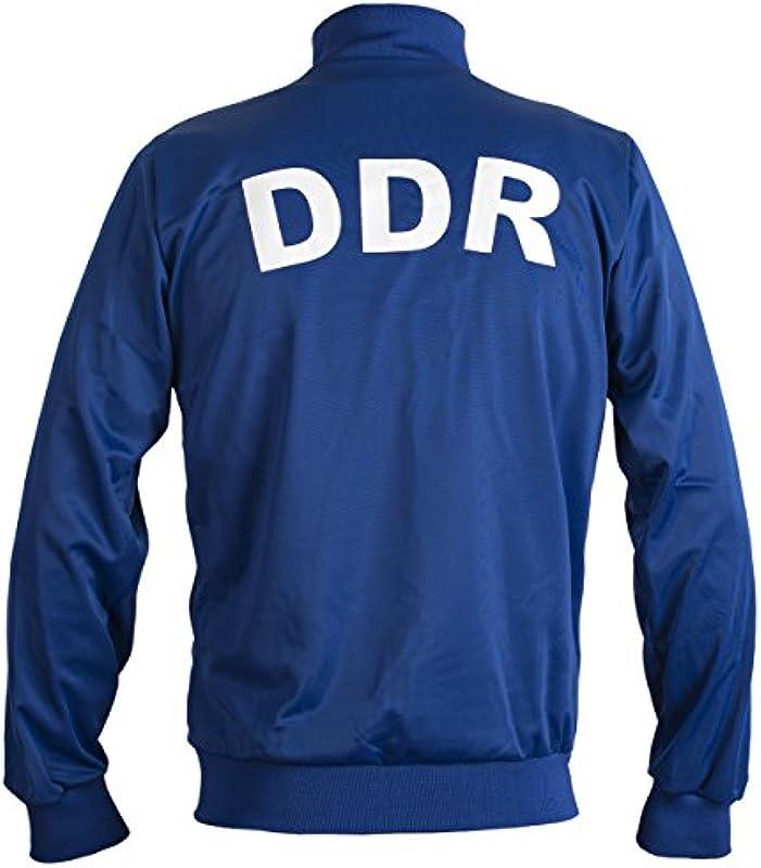 JL Sport Niemiecka Republika Demokratyczna Wschodnia Niemcy DDR 1970 Retro Piłka nożna Kurtka męska z zamkiem błyskawicznym: Odzież