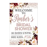 Rose Gold Bridal Shower Sign: 48x36, 36x24, 18x24 Floral Bridal Shower Welcome Sign, Glittery wedding Sign, Bridal sign, Bridal Shower Banner, Bachelorette Party Decor, Rose Gold Party Decorations