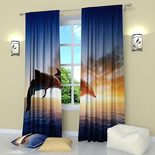 ains by Factory4me Couple of dolphins. Window Curtain Set of 2 Panels Each W42