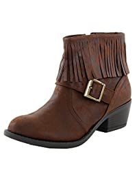 Soda Nikita-S Fringe Chunky Stacked High Heel Ankle Booties Boots