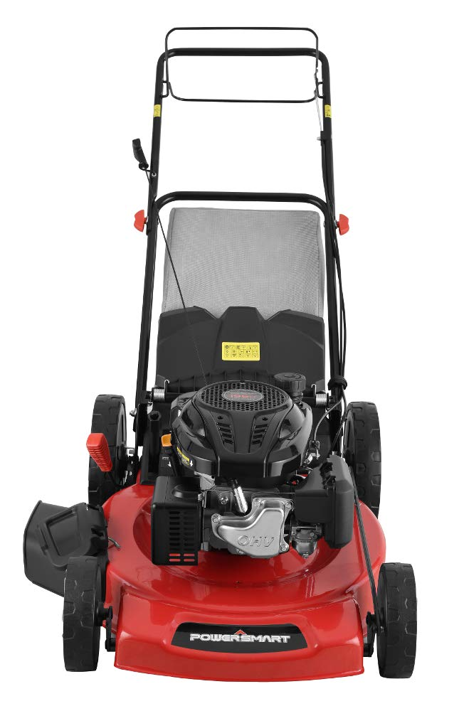 """Powersmart db2322s 22"""" 3-in-1 196cc gas self propelled lawn mower 5 powered by 196 cc engine delivering the right amount of power in a compact, lightweight package easy pull starting 3-in-1 bag, side discharge and mulching capability allows you to spread grass clippings to the side, returning key nutrients to your lawn so your grass can grow healthy and thick"""