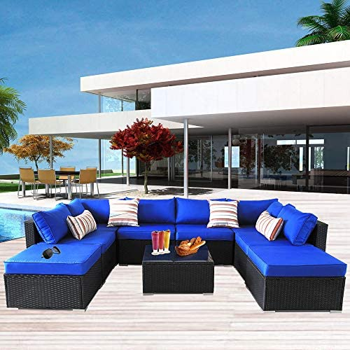 Outdoor Rattan Sofa Patio Furniture Garden Couch Sectional Set Conversation Sofa Sets Outside Sofa Royal Blue Cushions 9 Pcs
