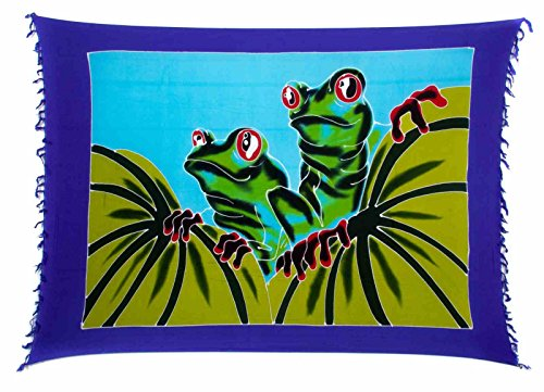 Sarong Pareo Wickelrock Dhoti Lunghi Tuch Strandtuch Wandbehang Thailand Frosch